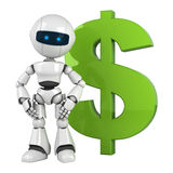 White robot stay with green dollar Royalty Free Stock Photos