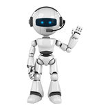 White robot stay with headphones Stock Image
