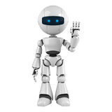 White robot stay hello Royalty Free Stock Photos