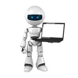 White robot stay with laptop Stock Photo