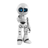White robot stay with magnifying glass Stock Photo
