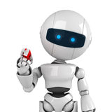 White robot stay with marker Royalty Free Stock Images