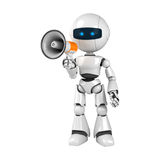 White robot stay with megaphone Stock Photo