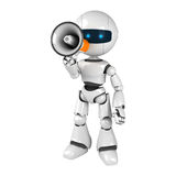 White robot stay with megaphone Stock Images