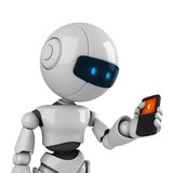 White robot stay with mobile phone Royalty Free Stock Images