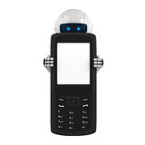 White robot stay with mobile phone Royalty Free Stock Photos