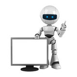 White robot stay with monitor Royalty Free Stock Images