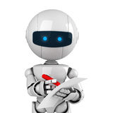 White robot stay with pen and document. Funny white robot stay with red pen and document Stock Image