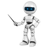White robot stay with pointer. A funny white robot stay with a pointer Stock Photography