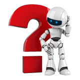White robot stay with red question Stock Photos