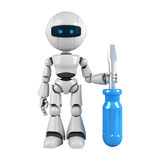 White robot stay with screwdriver Royalty Free Stock Photography