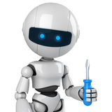 White robot stay with screwdriver Stock Photography