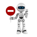 White robot stay with stop sign. Funny white robot stay with stop sign Royalty Free Stock Photo