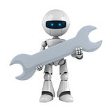 White robot stay with wrench Stock Photos
