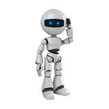 White robot talk on mobile phone Royalty Free Stock Photo