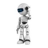 White robot talk on mobile phone Royalty Free Stock Image