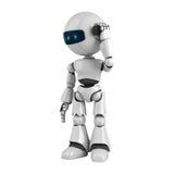 White robot talk on mobile phone Royalty Free Stock Image