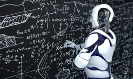 Free White Robot Technology Is Working On Mathematics, Chemistry, Biology, Science Royalty Free Stock Photography - 143742477