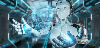 Free White Robot  Using Digital Artificial Intelligence Head Interface 3D Rendering Royalty Free Stock Photos - 165105338