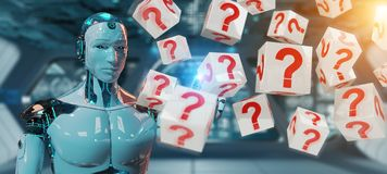 White robot using digital question marks 3D rendering. White robot on blurred background using digital question marks 3D rendering Royalty Free Stock Photos