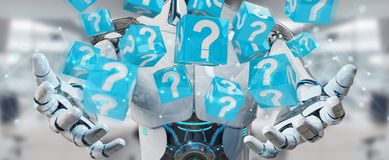 White robot using digital question marks 3D rendering. White robot on blurred background using digital question marks 3D rendering Stock Photos