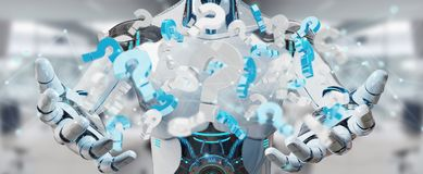 White robot using digital question marks 3D rendering. White robot on blurred background using digital question marks 3D rendering Stock Images