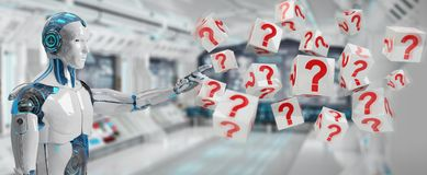 White robot using digital question marks 3D rendering. White robot on blurred background using digital question marks 3D rendering Stock Image