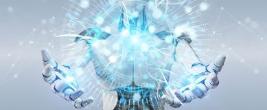White robot using globe network hologram with America Usa map 3D. White robot on blurred background using globe network hologram with America Usa map 3D Royalty Free Stock Image