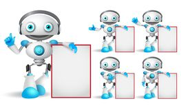 White robot vector character set standing while holding empty white board. With different hand gestures for design presentation. Android mascot vector royalty free illustration