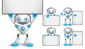 White robot vector characters set standing and holding empty blank white board. While talking for business technology related design presentation elements stock illustration