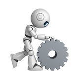 White robot walk with cogwheel Royalty Free Stock Photography