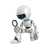 White Robot With Magnifying Glass Stock Photography