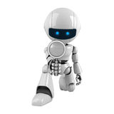 White Robot With Magnifying Glass Royalty Free Stock Photos