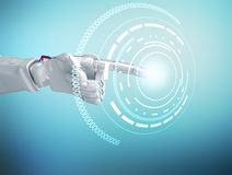 Robotic hand touches digital button in cyberspace Royalty Free Stock Photo