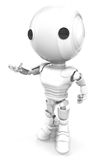 White robotic man. A three-dimensional view of a small, white robotic man on a white background Stock Image