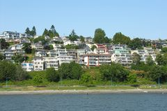 White Rock. A view of White Rock, near Vancouver, from the ocean Royalty Free Stock Photo