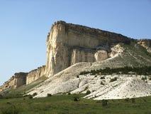 White rock. Grand white limestone rock in Crimean mountains Royalty Free Stock Photo