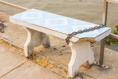 White rock bench locked Royalty Free Stock Image