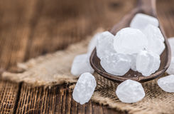 White Rock Candy on wooden background Stock Photos