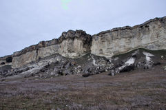 White rock. Legendary white rock in crimea in winter Royalty Free Stock Image