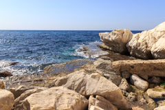 A white rock on the Mediterranean coast near the Rosh Hanikra Royalty Free Stock Images