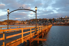 White Rock Pier Sunrise Walk. White Rock is a popular tourist destination on the west coast of British Columbia near the United States border. There are numerous Royalty Free Stock Photo