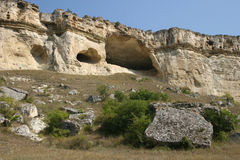 The White Rock's caves. The White Rock near Belogorsk, Crimea, Ukraine Stock Photos