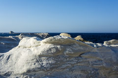White Rock at the sea of Sarakiniko area, Milos island, Greece Royalty Free Stock Photography