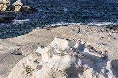 White Rock at the sea of Sarakiniko area, Milos island, Greece Stock Photos