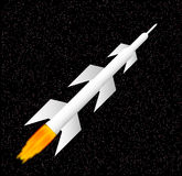White rocket. Ship in space Stock Image