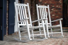 White Rocking Chairs Royalty Free Stock Image
