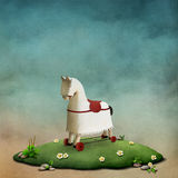 White rocking horse. Fantasy illustration or poster fairy tale  story of Wonderland with  White rocking horse. Computer graphics Royalty Free Stock Photos