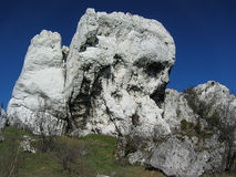 White rocks. White limestone rocks moutain over blue sky Stock Photo