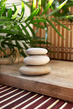 White rocks for massage. Green plant and white rocks for massage, bomboo textures and wood Stock Image